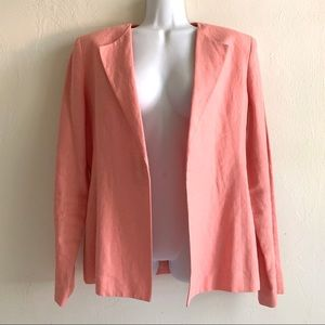 Amanda Smith Peach Linen Blazer Open Front Lined